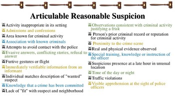 Reasonable Suspicion & Probable Cause Notes for Law Enforcement I