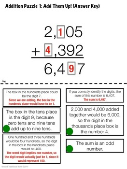 Reasoning Puzzles (Addition/Subtraction): Activities for Math Talk (Gr. 3-4)