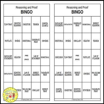 Reasoning  and Proof Geometry BINGO