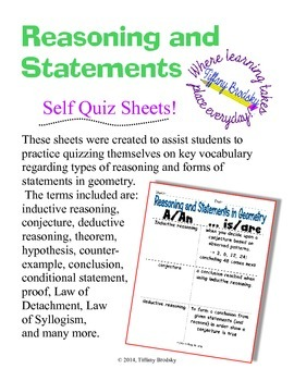 Reasoning and Statements in Geometry Self Quiz Sheets for