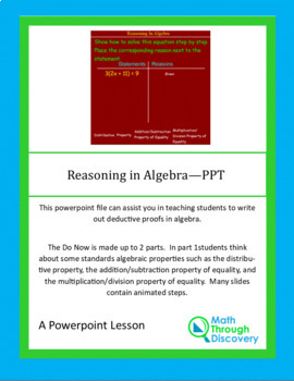 Algebra:  Reasoning in Algebra
