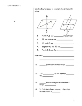 Reasoning in Geometry Note Packet