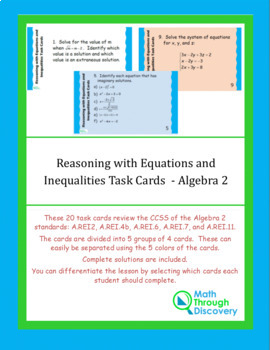 Algebra 2: Reasoning with Equations and Inequalities Task Cards