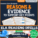 Reasons & Evidence in Text: ELA Reading Comprehension Worksheets | GRADE 4 & 5