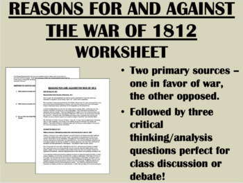 Reasons For and Against War in 1812 - US History/APUSH