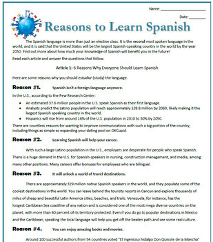 Reasons to Learn Spanish: Reading, Activities & Substitute Plan