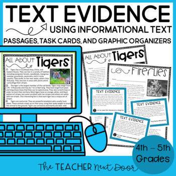 Text Evidence Using Informational Text: Print and Digital | Distance Learning