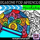 Reasons for Absences Mandalas:  Attendance Awareness Activity