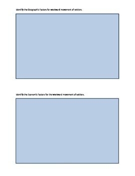 Reasons for Westward Movement Graphic Organizer