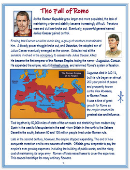 """""""Fall of the Roman Empire"""" + PP, Activities, Assessments  (Distance Learning)"""