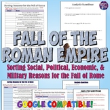 Reasons for the Fall of the Roman Empire Sorting Activity