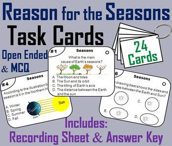 Reasons for the Seasons Task Cards: Rotation and Revolution, Hemispheres etc.