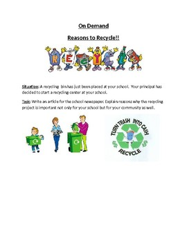 Reasons to Recycle On Demand Writing Prompt