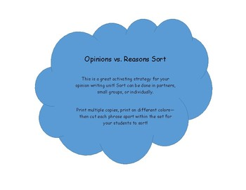 Reasons vs. Opinions Sort