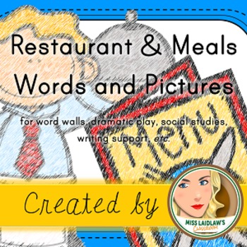 Restaurant and Meals - Word Wall and Vocabulary