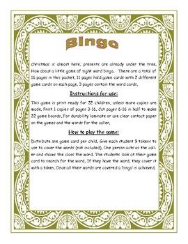 Rebecca Sitton Level 2 High Frequency Words Bingo Game