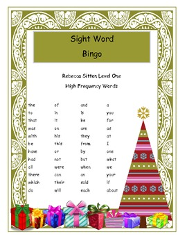Rebecca Sitton Level One High Frequency Bingo Game For Christmas