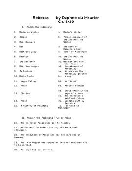 Rebecca ch 1-16 Reading Check Test/Quiz