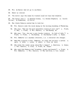 Rebecca ch 17 to End Reading Check Test/Quiz