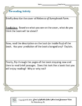Rebecca of Sunnybrook Farm Literature and Grammar Unit