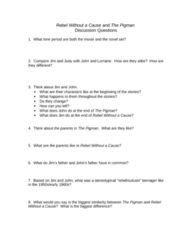 Rebel Without a Cause/The Pigman Comparison Discussion Worksheet