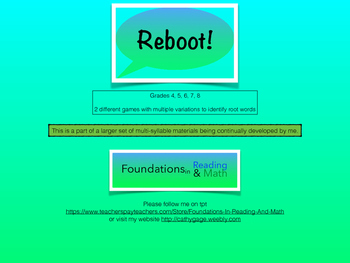 Reboot - a multi syllable game with root words and affixes for RTI /small groups