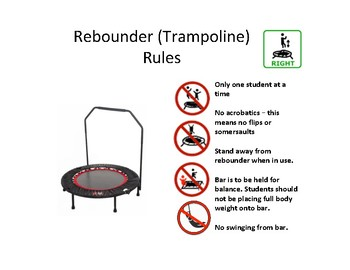Rebounder (Trampoline) Safety Rules Visual