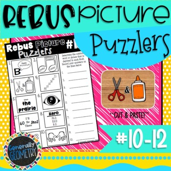 Rebus Picture Puzzlers #10-12: Visual Brain Teasers