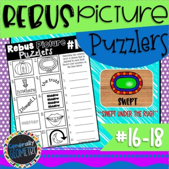 Rebus Picture Puzzlers #16-18: Visual Brain Teasers