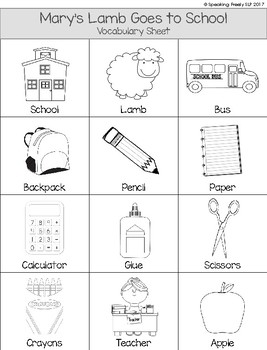 Rebus Picture Stories Packet for Preschool Vocabulary