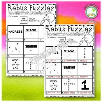Rebus Puzzle Wordplay Worksheet