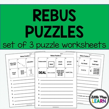 Rebus Puzzle Worksheets By Little Miss Learn Teachers Pay Teachers
