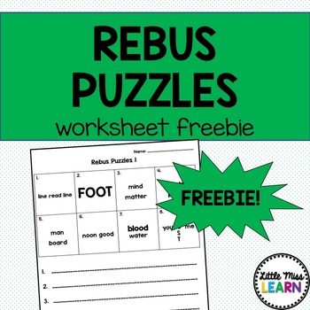 Rebus Puzzle Worksheet Freebie By Little Miss Learn Tpt