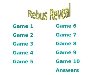 """Rebus Reveal"" Powerpoint Game"