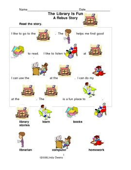 Rebus Story The Library & Worksheet (2 pages)