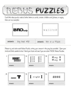 picture about Printable Wuzzles With Answers titled Rebus Puzzles Worksheets -