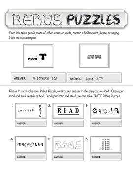 "Rebus ""Wuzzle"" Puzzle Worksheet 3 - teachmehowtoALGE"