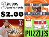"Rebus ""Wuzzle"" Puzzle Worksheet BUNDLE (WORKSHEETS 3, 4, & 5)"