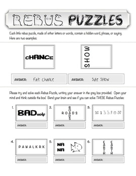 Rebus quot;Wuzzlequot; Puzzle Worksheet  teachmehowtoALGE by teachmehowtoALGE
