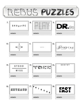 photograph relating to Einstein's Riddle Printable called Rebus \