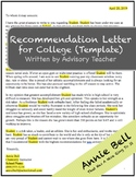 Rec Letter - College Recommendation Letter Template (by Advisory Teacher)