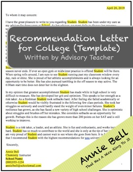 College Recommendation Letter Template | Rec Letter College Recommendation Letter Template By Advisory