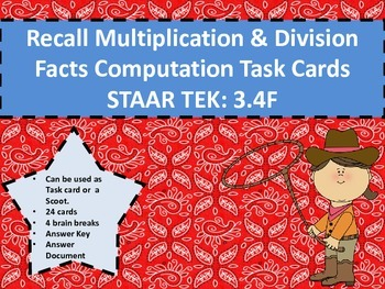 Recall Multiplication & Division Facts Computation Task Ca
