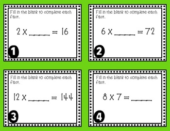 Recall Multiplication and Division Facts Task Cards