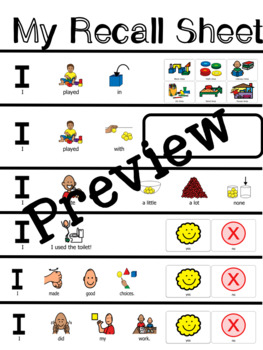 Recall Sheet for Non-Verbal Students