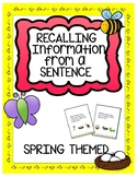 Recalling Information from a Sentence-Spring Themed
