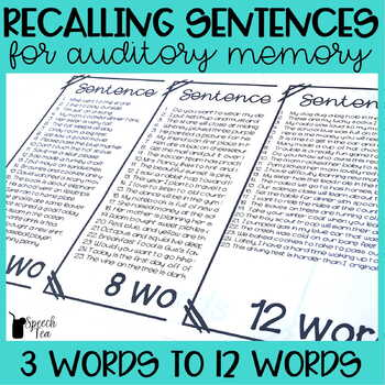 Recalling Sentences for Auditory Memory and Auditory Processing