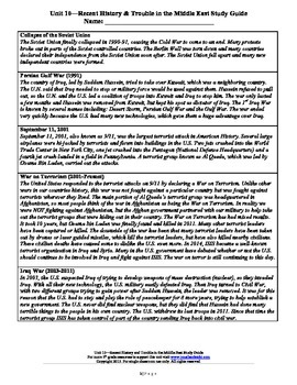 Recent History, Trouble in the Middle East Study Guide--5th Grade Social Studies