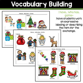 Receptive & Expressive Language Builder: Winter Holidays Edition