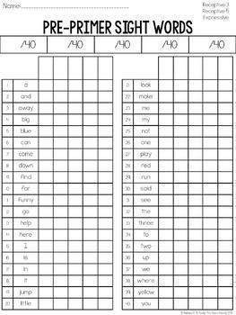 Sight Words Assessment Bundle: Receptive & Expressive